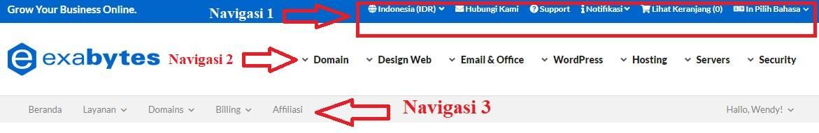 Navigasi Menu Exabytes Indonesia