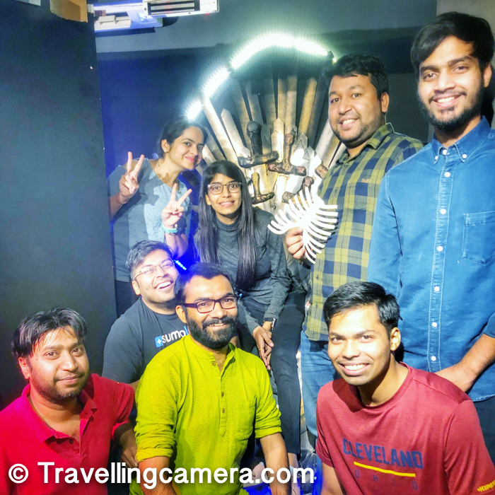 Finally we solved the puzzle and opened the door at very last moment :). Above photograph shows one of the teams. We had 2 teams playing 2 games at Escape rooms and both the teams solved the puzzles.
