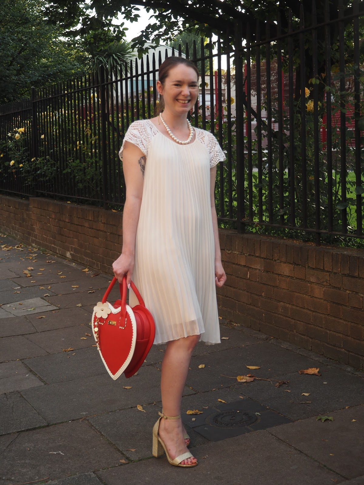 White Dress with Gold Shoes