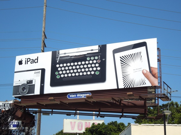 iPad typewriter billboard