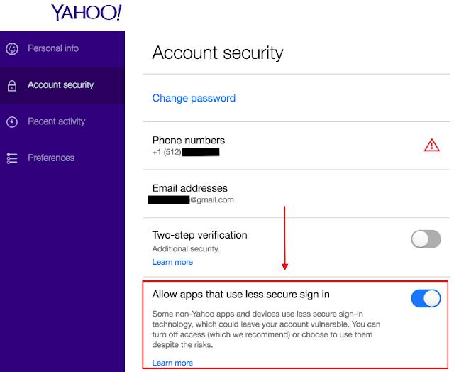 Hình 11 - Cho phép ứng dụng đăng nhập vào Yahoo để gửi email