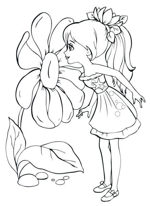 Tranh tô màu bé gái và bông hoa