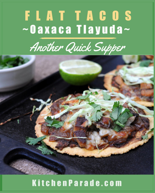 Oaxaca Tlayuda (Flat Tacos), another Quick Supper ♥ KitchenParade.com, just crisp corn tortillas topped with a fantastic black bean spread, caramelized onions, a little protein plus a little cheese and a scatter of cabbage. So easy, so good! Easily Vegetarian. High Protein. Weight Watchers Friendly. Gluten Free.