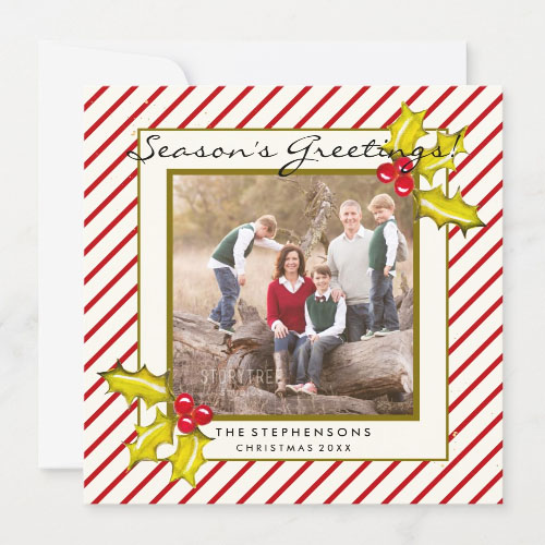 Farmhouse Peppermint Cream & Red Stripe and Holly Seasons Greetings Christmas Card