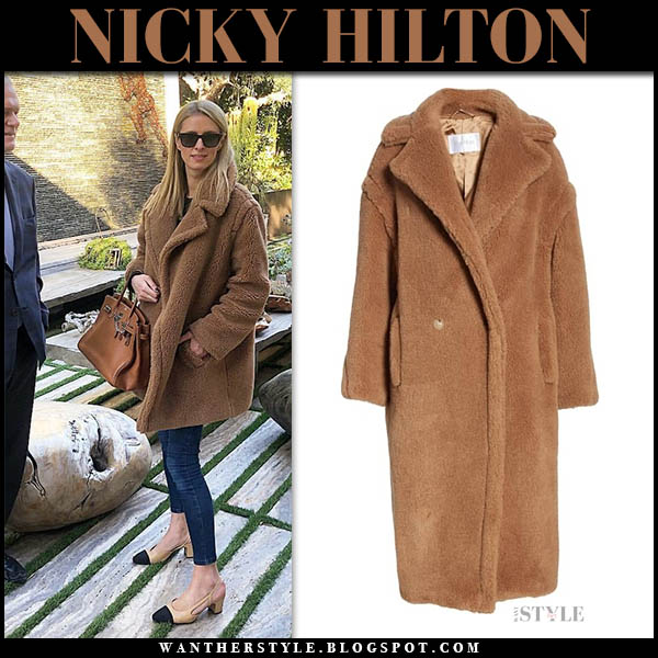 Nicky Hilton in brown teddy bear max mara icon coat and slingback chanel pumps celebrity winter style december 28