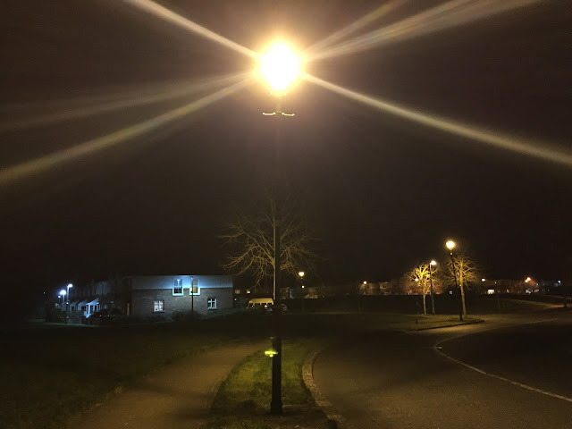 Lamppost in a housing estate with trees. Shadows.