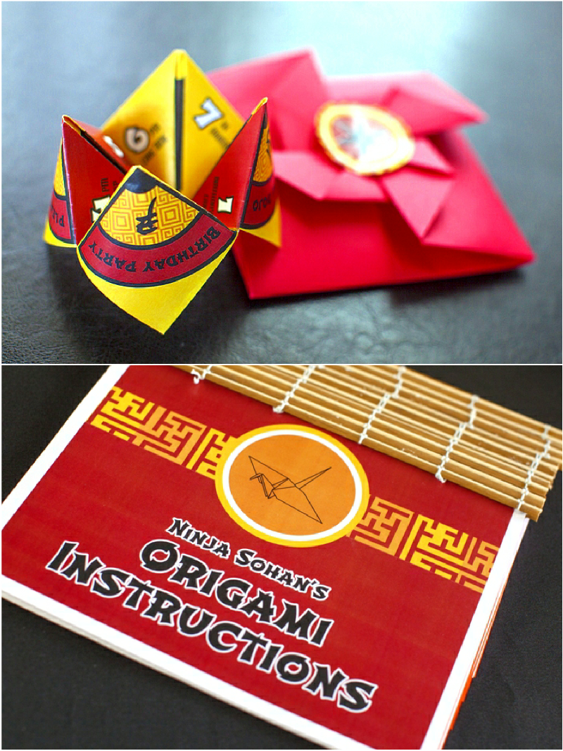 Ninja Japanese Birthday Party Origami Invitations - via BirdsParty.com