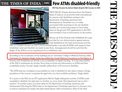 Times of India: few ATMs disabled friendly
