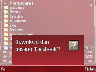 konfirmasi download dan install aplikasi facebook seluler