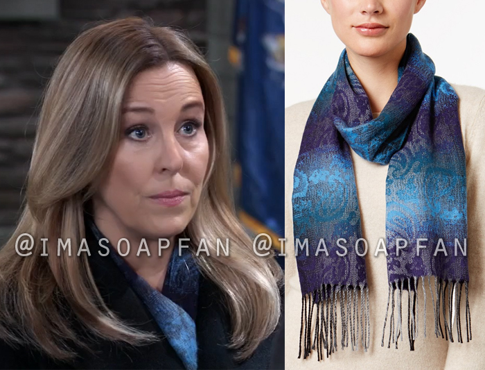 Laura Webber, Genie Francis, Blue Ombre Paisley Scarf, General Hospital, GH