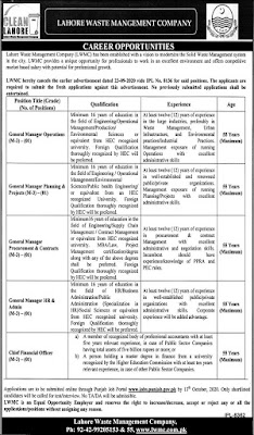 Latest Lahore Waste Management Company Jobs