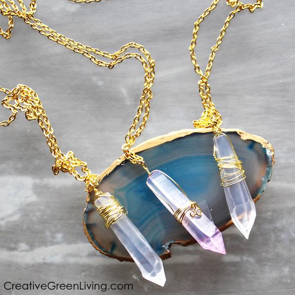 DIY faux crystal necklace tutorial