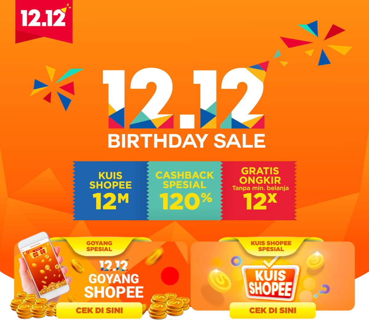 Shopee - Promo Cashback , Kuis & Gratis Ongkir di Birthday Sale 12.12