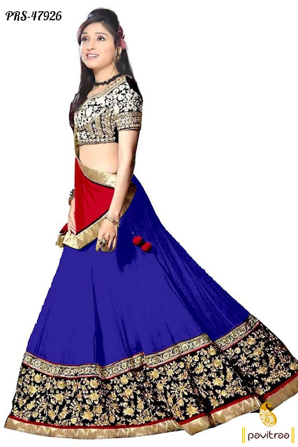 Blue color party wear lowest prices lehenga ghagra cholis online