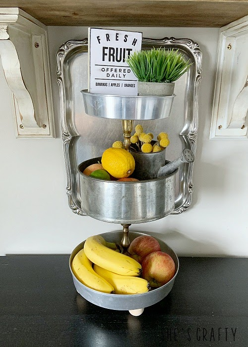 How to style a 3 tier tray for Summer with free printable Fresh Fruit Printable for Summer- how to apply to wood to make a sign