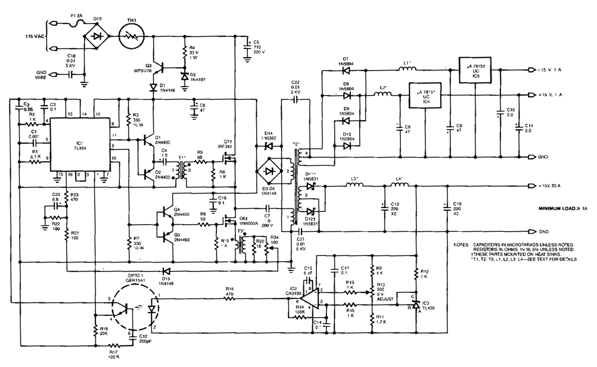 100Khz Multiple Output Switching Power Supply Circuit