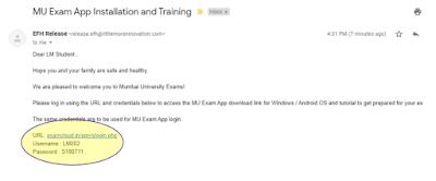 Mumbai University (MU) Welcome Email - muquestionppers