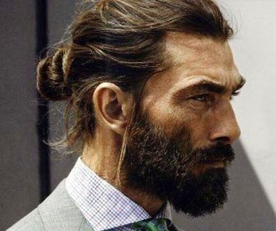 men's long hairstyle - Men Bun with Beard
