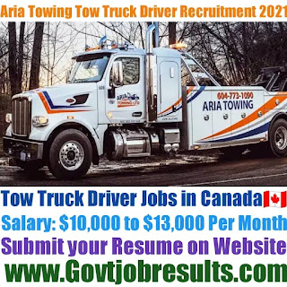Aria Towing Tow Truck Driver Recruitment 2021-22