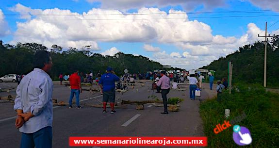 Habitantes del poblado Maya Balam bloquean carretera Sur del Estado ante oídos sordos de las autoridades de Bacalar