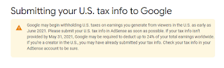 Cara Isi Informasi TAX Di Google Adsense