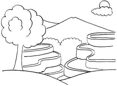 Sketsa gambar pemandangan sederhana