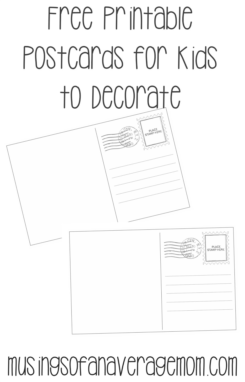 Free Printable Postcards For Kids  Postcard Template Free Printable