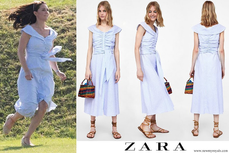 119cd08f464 Kate Middleton wore ZARA striped off the shoulder dress. ZARA Striped  Off-The-Shoulder Dress