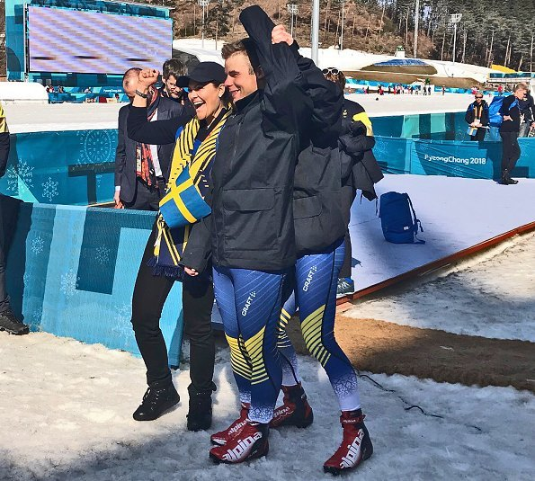 Crown Princess Victoria at Paralympic Winter Games 2018 in Pyeongchang. Crown Princess congratulated Swedish cross-country skier, Zebastian Modin
