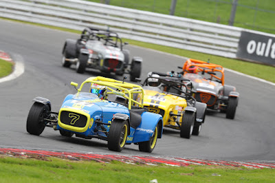 Daniel French leading the chasing pack in the second Caterham 270R race of the weekend at Oulton Park