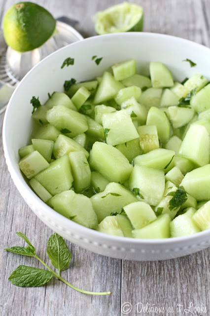 Mojito Cucumber Melon Salad  /  Delicious as it Looks