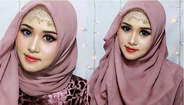 Cara memakai jilbab pengantin modern segi empat modis