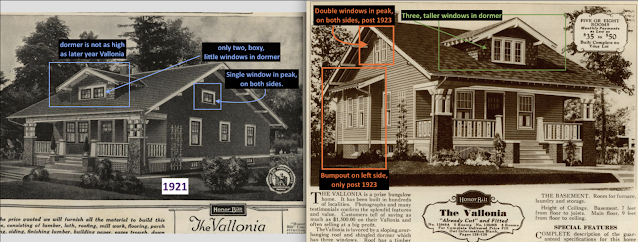 side-by-side comparison of differences in Sears Vallonia 1921 and 1923