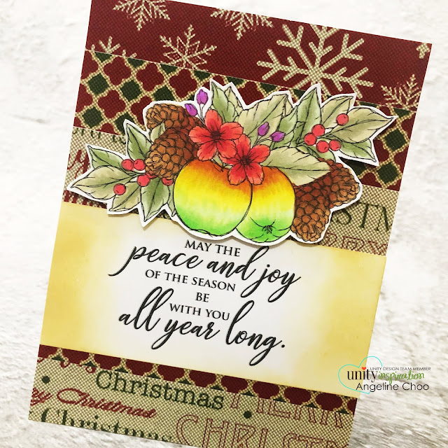 ScrappyScrappy: Unity Stamp Ornament Builders and Holiday inspired - Vintage Retro Christmas card #scrappyscrappy #unitystampco #quicktipvideo #youtube #cardmaking #card #stamp #papercraft #gracielliedesign #christmaslinen #winterblossomapple #christmascard #holidaycard #christmasapples #unitystamppaper #peaceandjoy #copicmarkers