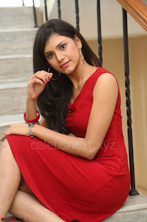 Mounika Telugu Actress in Red Sleeveless Dress Black Boots Spicy Pics 057.JPG