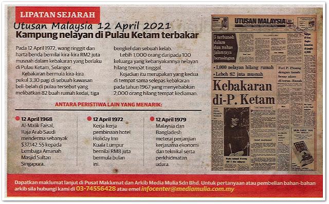 Lipatan sejarah 12 April  - Keratan akhbar Utusan Malaysia 12 April 2021