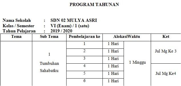 Program Tahunan Kelas 6 SD/MI Tahun 2019/2020 - Homesdku