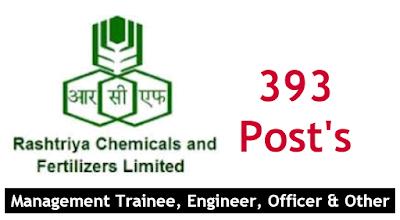 RCFL Recruitment 2020 Management Trainee, Engineer, Officer rcfltd