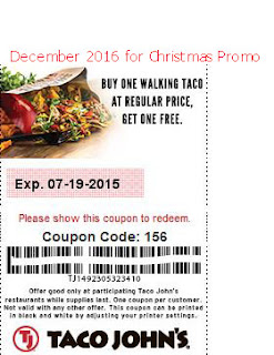 free Taco Johns coupons december 2016