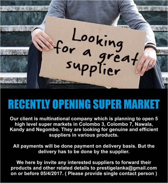 Wanted Suppliers for Recently Opening Super Market