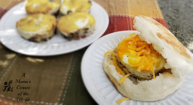 Baked Egg Breakfast Sandwich with Cheese and Sausage