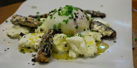 Grilled Sardines with Hung Curd and Poached Eggs