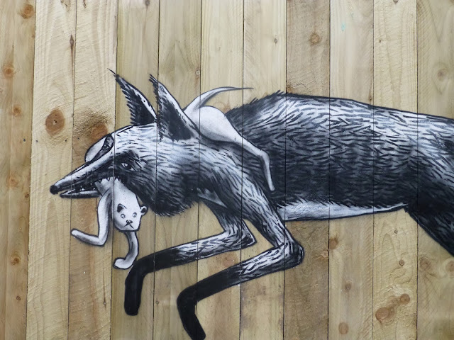 """""""Urban Foxes"""" New Street Art Piece By Phlegm On The Streets Of His Hometown, Sheffield, UK 3"""