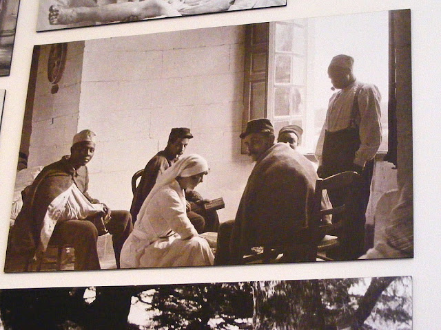 Archive photo of French and African soldiers at the Chateau of Chenonceau when it was a hospital in the First World War.  Indre et Loire, France. Photographed by Susan Walter. Tour the Loire Valley with a classic car and a private guide.