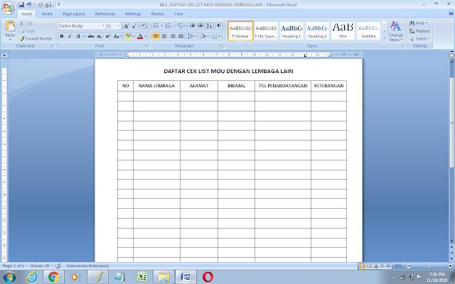 Contoh Daftar Cek lis MOU sekolah dengan lembaga pendidikan lain