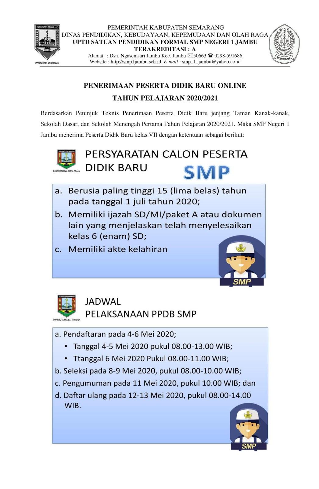 Ppdb Sd Semarang 2020 : semarang, Negeri, Jambu:, INFORMASI, PENERIMAAN, PESERTA, DIDIK, TAHUN, PELAJARAN, 2020/2021