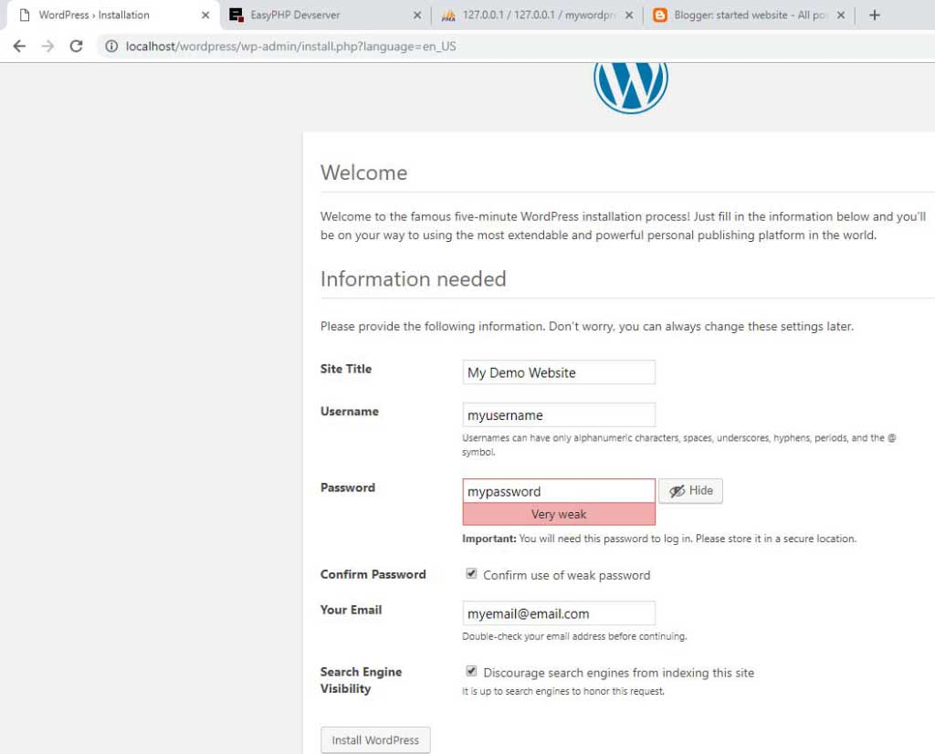 WordPress website information change