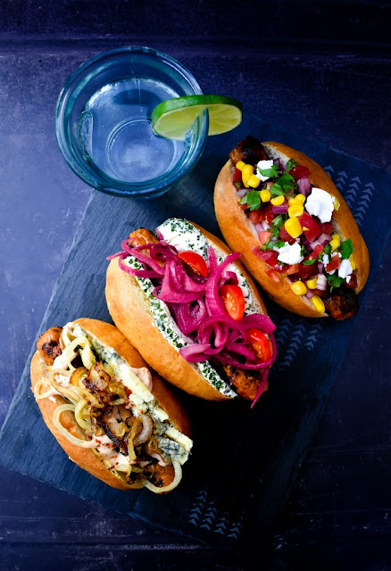 Three veggie hot dogs. The Chipotle Blue Cheese Dog, The New York Deli Dog and the Mexican Dog