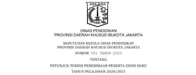 Zonasi, Persyaratan dan Juknis PPDB SD SMP SMA SMK Se Provinsi DKI Jakarta Tahun Pelajaran 2020/2021