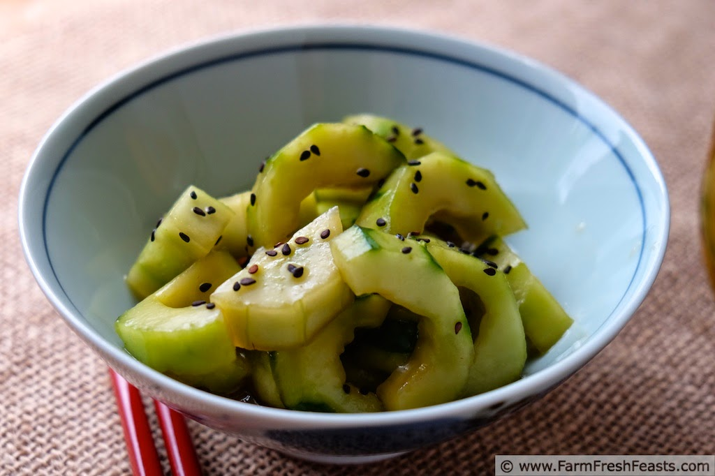 Soy Sesame Marinated Cucumbers | Farm Fresh Feasts